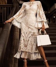 Bell Sleeve Dress, Maxi Dress With Sleeves, The Dress, Sheath Dress, Bell Sleeves, Bodycon Dress, Lace Maxi, Sleeve Dresses, Vestidos Vintage