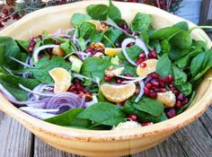 Clementine Spinach Salad w/ Candied Almonds is a crowd pleasing, festive & delicious salad.