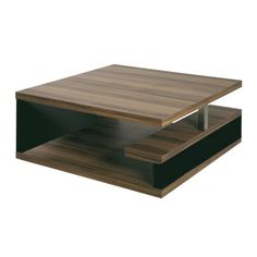 Geno Square Coffee Table In Walnut With Black Gloss 86506