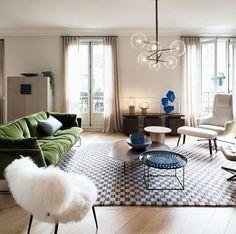 Paris apartment with green velvet sofa | PUFIK. Beautiful Interiors. Online Magazine