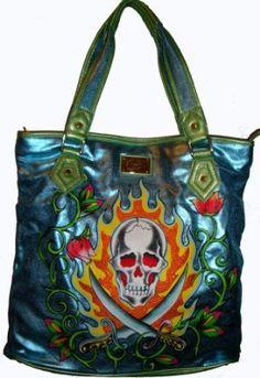 Ed Hardy Purse Tote Handbag Blue Arielle Ed Hardy Designs c74ef8ab187eb