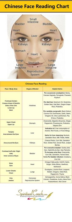 Chinese Facial Readi Chinese Facial Reading Chart - Learn what's going on inside your body by reading your face: www.spiritualcoac... #tcm #chinesemedicine #facereading https://www.pinterest.com/pin/492722015468882880/