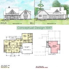 Conceptual Design 1597 is an elegant modern farmhouse with arched windows and shutters. Inside, the floor plan is open and has a split-bedroom layout.   #wedesigndreams #modernfarmhouse Modern Farmhouse Design, Construction Drawings, House Blueprints, Arched Windows, Conceptual Design, Bedroom Layouts, New House Plans, Built In Shelves, Farmhouse Homes