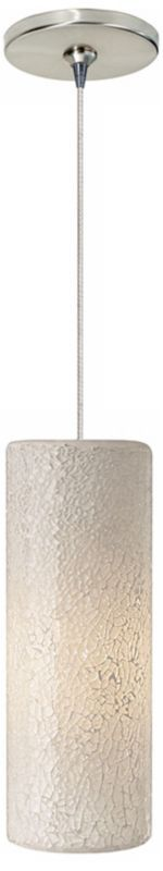 Veil White Glass Satin Nickel LED Single Pendant Light - Euro Style Lighting