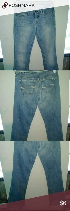 Abercrombie and Fitch 2 long Abercrombie and Fitch jeans size 2 long has wear on the back of one leg see photos.  Good condition otherwise Abercrombie & Fitch Jeans