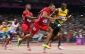 Usain Bolt, Jamaica, Yohan Blake, Jamaica,  GOLD MEDAL,  Ryan Bailey and Tyson Gay,  SILVER MEDAL  August 11, 2012  View image detail