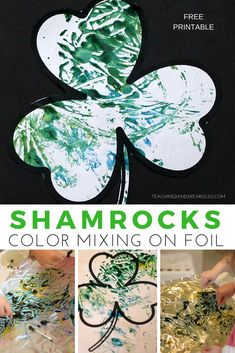 Add some extra fine motor to your toddler St. Patrick\'s Day art with these fun color-mixing shamrocks! Use cotton swabs to mix blue and yellow paint and then use the free shamrock printable to make a print of the colors. Hands-on fun! #stpatricksday #printable #shamrock #toddlers #toddlerart #colors #processart #paint #finemotor #AGE2 #AGE3