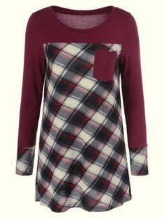 $7.06 for Plaid Trim One Pocket Tee in Burgundy | Sammydress.com