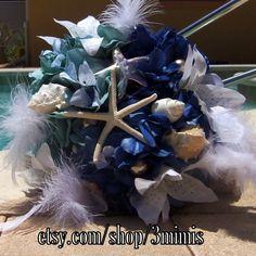 Starfish Wedding Bouquet  Nautical Wedding Starfish Blue by 3Mimis, $125.00