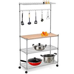 Yaheetech 3 Shelf Metal Bakers Racks for Kitchens With Storage Hanging Shelf and Wood Cutting Board ** undefined #KitchenDiningRoomFurnitures