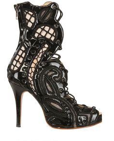 KTZ ~ Vinyl Lace Open Toe Boot Pumps