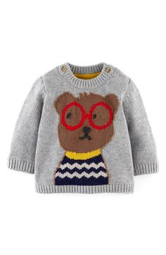 Free shipping and returns on Mini Boden Sweater (Baby Boys) at Nordstrom.com. A whimsical critter keeps warm on the front of a knit sweater spun with a touch of supersoft cashmere.