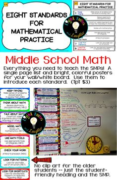 Common Core 8 Math Practice Standards - everything you need to teach them in middle school.  One page list and posters for white board.  TpT $