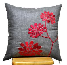 Red Grey Flower Pillow Cover, Decorative Throw Pillow Cover, Ash Grey Linen Pillow Red Peony Embroidery, Grey Pillow , Pillow Case 18 x 18. $23.00, via Etsy.