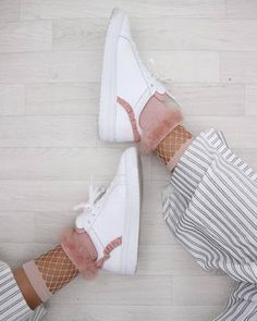 $100 Cute Bright White Sneakers With Pink Lining Patterning Spring Summer Shoe Trends With Cute Pink Fishnet Fluffy Faux Fur Socks