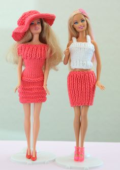 2 Barbie Doll Knitted Outfits