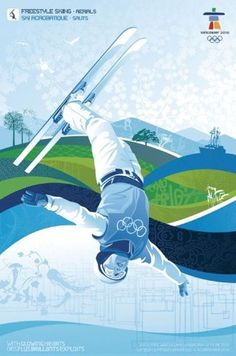 Vancouver 2010 Olympics Poster Aerial Freestyle SKIING, Ski NEW Poster #Canada