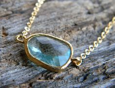 Aquamarine Necklace in Gold Aqua Jewelry Bridesmaid - Bridal-Wedding Jewelry - Accessories Women - Gold filled Necklace - Dainty Necklace by Greenperidot on Etsy https://www.etsy.com/transaction/1062376935