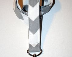Lanyard / ID Holder with lobster claw clasp Gray Chevron Zig Zag