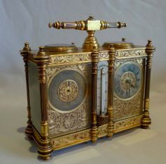 An antique desk compendium. Comprising an 8 day carriage clock and an aneroid barometer with a thermometer between and a compass to the top. France circa 1890