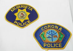 2 Patch LOT Murrieta Corona California Police Gem of the Valley Mint New Nice