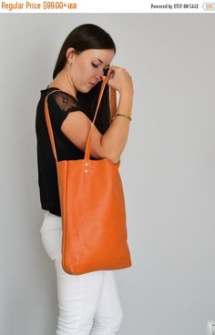 ON SALE MADRID  Everyday Orange Leather Tote Bag by KadoBag