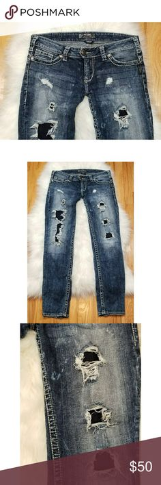 """Silver Destroyed Skinny Jeans Acid Washed 31 Silver """"Camden Rose"""" Destroyed Skinny Jeans Acid Washed size 31. In excellent condition. Measurements: Waist: 31"""" Rise: 8"""" Inseam: 31"""" Silver Jeans Jeans Skinny"""