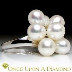 14K White Gold Oval Shaped Cultured Creme Pearl Jingle Cluster Cocktail Ring | eBay