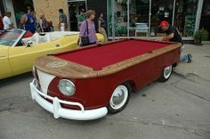 "Got an old Volkswagen ""Hippie Van"" Type 2 Bus you're not using? Why not turn it into a pool table? Billiards Forum has more photos of this unusual pool table: Link - via Auto Motto. Vw T1 Camper, Combi Wv, Auto Volkswagen, Volkswagon Van, Volkswagen Beetles, Old Car Parts, Car Furniture, Automotive Furniture, Vw Vintage"