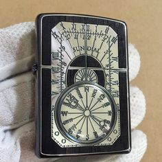 Japanese Zippo Antique Sundial Silver Wood Inlay Both Sides Etching Lighter