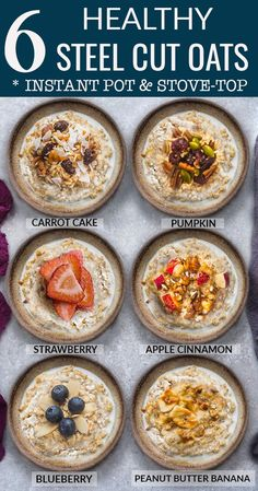 Healthy Steel Cut Oats in 6 delicious flavors you can make in the Instant Pot or. - Healthy Steel Cut Oats in 6 delicious flavors you can make in the Instant Pot or Stovetop. Healthy Oatmeal Recipes, Oats Recipes, Healthy Breakfast Recipes, Cooker Recipes, Breakfast Crockpot, Healthy Eating, Instant Oatmeal Recipes, Healthy Oatmeal Breakfast, Healthy Brunch