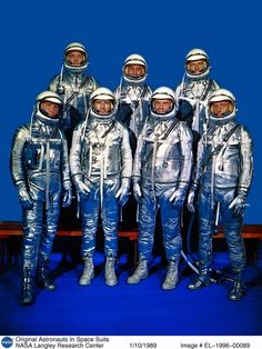 """NASA introduced the Project Mercury astronauts to the world on April 9, 1959. Known as the Mercury Seven or Original Seven, they are (front row, left to right) Walter M. """"Wally"""" Schirra Jr., Donald K. """"Deke"""" Slayton, John H. Glenn Jr., M. Scott Carpenter, (back row) Alan B. Shepard Jr., Virgil I. """"Gus"""" Grissom and L. Gordon Cooper, Jr.   Photo credit: NASA. AS of 10/10/13 only John Glenn is the last surviving member"""
