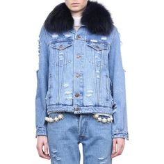 Forte Couture Le Bon cotton denim jacket with mink fur ($2,062) ❤ liked on Polyvore featuring outerwear, jackets, light blue, butterfly jacket, mink fur jacket, blue fox jacket, mink jacket and distressed jacket