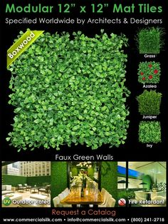 """Faux green walls/surfaces in 12""""X12"""" connecting tiles.  Could have some interesting retail display applications."""