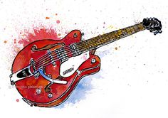 """Gretsch guitar"" (32,5x46 cm.)  watercolor+ink on paper - © francesc palomas"