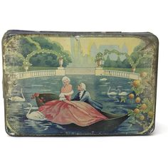Art Deco Tin Box. Antique Biscuit Tin. Romantic French Candy Box. ($46) ❤ liked on Polyvore featuring home and home decor
