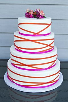 Hot pink and orange #Wedding Cake ... Wedding ideas for brides, grooms, parents & planners ... https://itunes.apple.com/us/app/the-gold-wedding-planner/id498112599?ls=1=8 … plus how to organise an entire wedding, without overspending ♥ The Gold Wedding Planner iPhone App ♥
