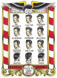 Vintage Men's Haircuts Sign: Modern Styles, It Pays to Look Well