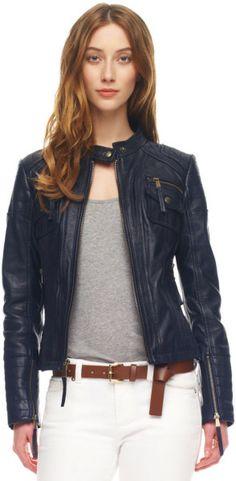 Michael Kors Leather Motorcylcle Jacket, Navy