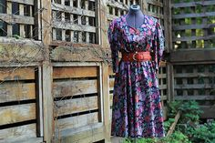 Vintage 80's Floral 3 Quater Sleeve Mid Calf Length Belted Dress