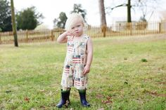 Adorable Gray in the Everett shortalls!  www.flemnigclothing.com