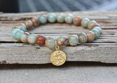 Gold Om bracelet jasper beaded jewelry Zen by ButterflyWarriors