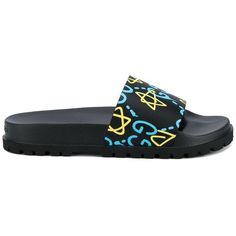 Gucci Gucci Logo Print Flip Flops ($280) ❤ liked on Polyvore featuring men's fashion, men's shoes, men's sandals, men's flip flops, black, gucci mens sandals, mens black sandals, gucci mens shoes, mens leopard print shoes and mens black flip flops