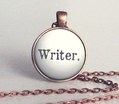 Writer Charm Necklace - Copper - Writer Jewelry - Writer - Gift for Writer (B4117)