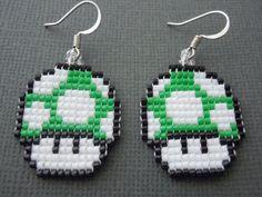 Handmade Seed Bead 1up Mushroom Earrings by Pixelosis on Etsy, $25.00