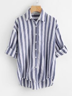 Shop Plus Striped High Low Blouse online. SHEIN offers Plus Striped High Low Blouse & more to fit your fashionable needs. Stripes Fashion, Blue Fashion, Women's Fashion, Summer Shirts, Summer Tops, Spring Summer, Job Interview Outfits, How To Roll Sleeves, Plus Size Blouses