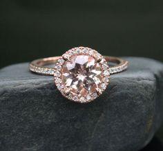 Morganite Engagement Ring Rose Gold Morganite von Twoperidotbirds