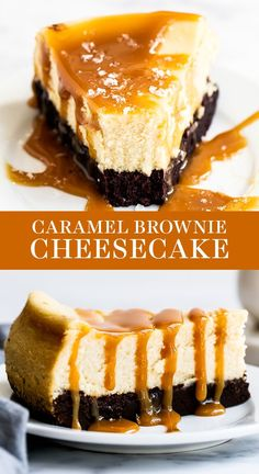 Caramel Brownie Cheesecake features a thick fudgy brownie bottom with a luscious layer of creamy vanilla cheesecake all topped with salted caramel sauce. Easy homemade, from-scratch recipe that is a great dessert idea for a crowd this fall or Thank Cheesecake Brownies, Best Cheesecake, Easy Cheesecake Recipes, Cheesecake Desserts, Cake Mix Recipes, Easy Cookie Recipes, Baking Recipes, Dessert Recipes, Homemade Cheesecake