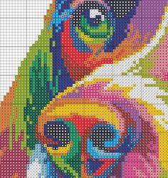 Colorful Modern Dog, Counted Cross stitch, Pattern PDF, Cross Stitch Chart…
