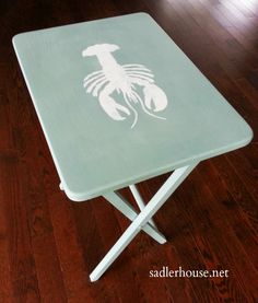 Tray Table Hack! Transformation of a big box store tray table into a cute coastal end table. sadlerhouse.net